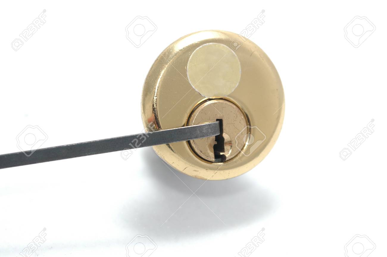 Picking a pin-tumbler lock with a tension wrench Stock Photo - 15899635