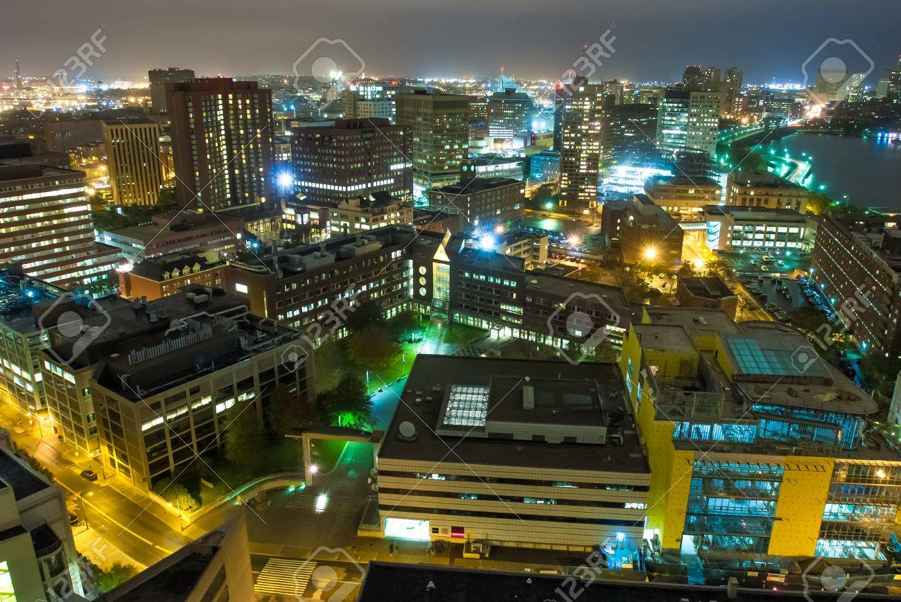 Aerial view of cambridge massachusetts at night stock photo aerial view of cambridge massachusetts at night stock photo 16658138 baditri Gallery