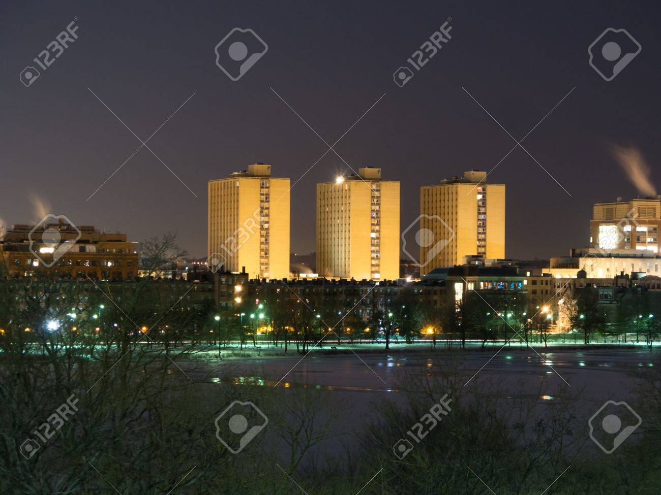 Boston Universityu0027s Warren Towers Dormitory At Dusk Stock Photo   16979503 Part 95