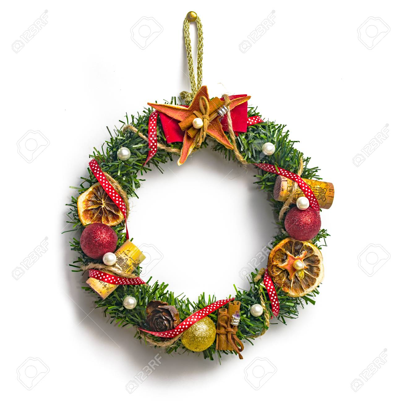 Christmas Wreath With Decorations Isolated On White Background Stock ...