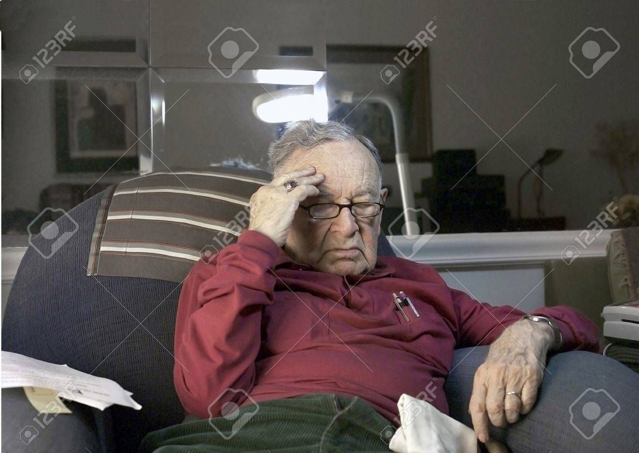 Senior under stress .  He is Romanian born and of the Jewish Faith.  He is 85 years old. Stock Photo - 10314828