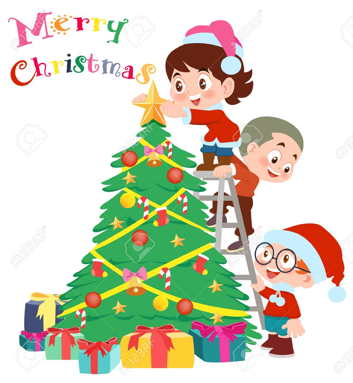Christmas Tree And Children Vector Illustration Isolated On White Royalty Free Cliparts Vectors And Stock Illustration Image 90232171