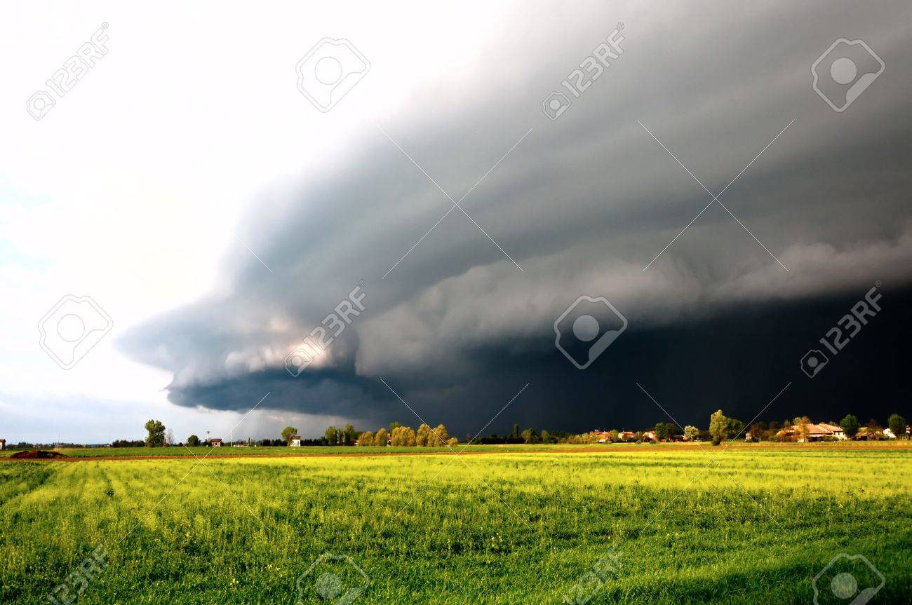 dramatic landscape with arriving storm in Po valley, Emilia Stock Photo - 13854653