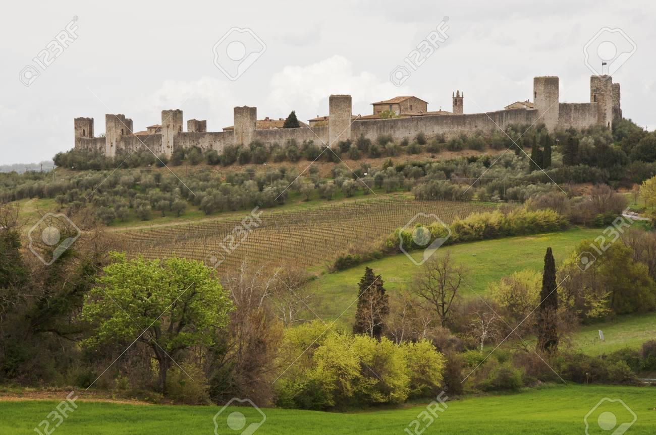 the fort of Monteriggioni next to Siena, Tuscany, Italy Stock Photo - 13740341