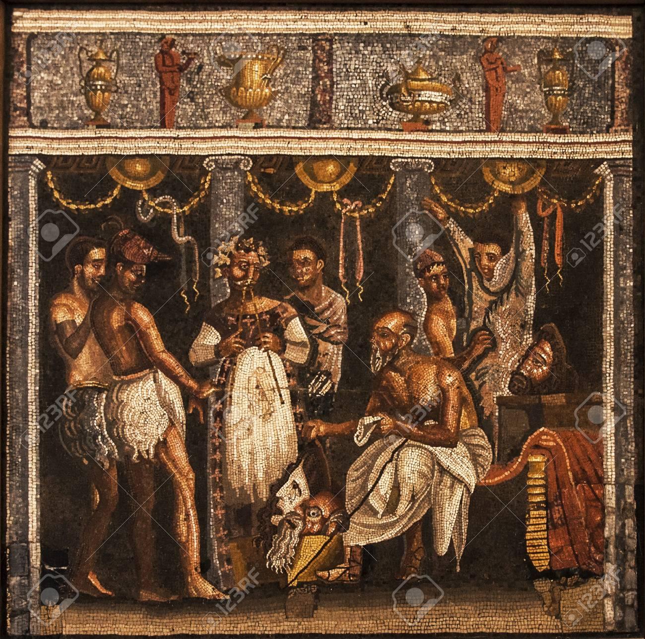 mosa¯que romaine de maisons de Pompéi Naples éditoriale