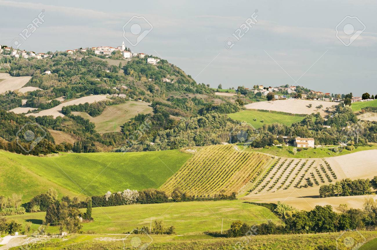 View Of The Typical Italian Landscape In Marche Stock Photo