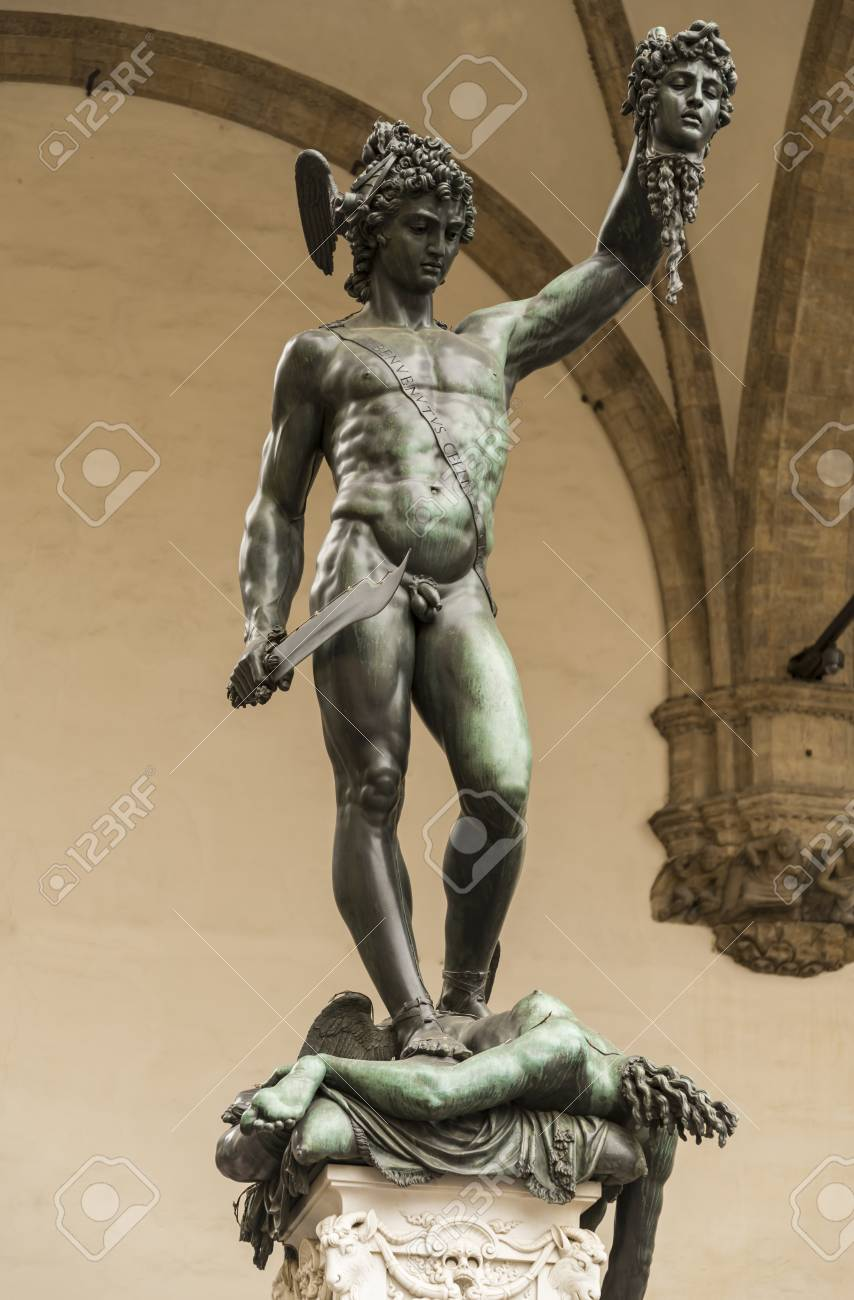 Italy Florence Perseus With The Head Of Medusa Is A Bronze