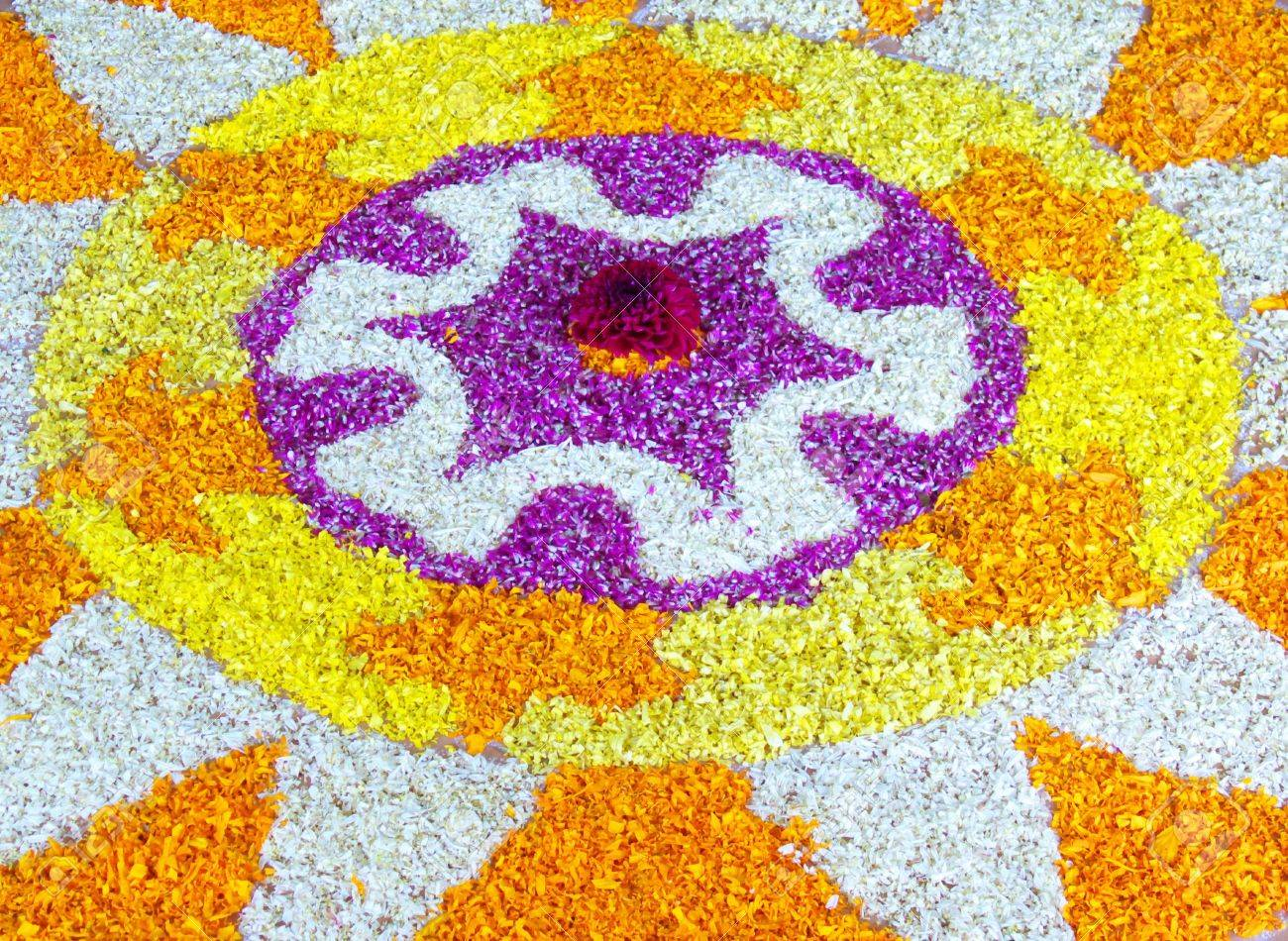 Indian Festival Decoration Flower Decoration At Indian Home In Kerala For Onam Festival