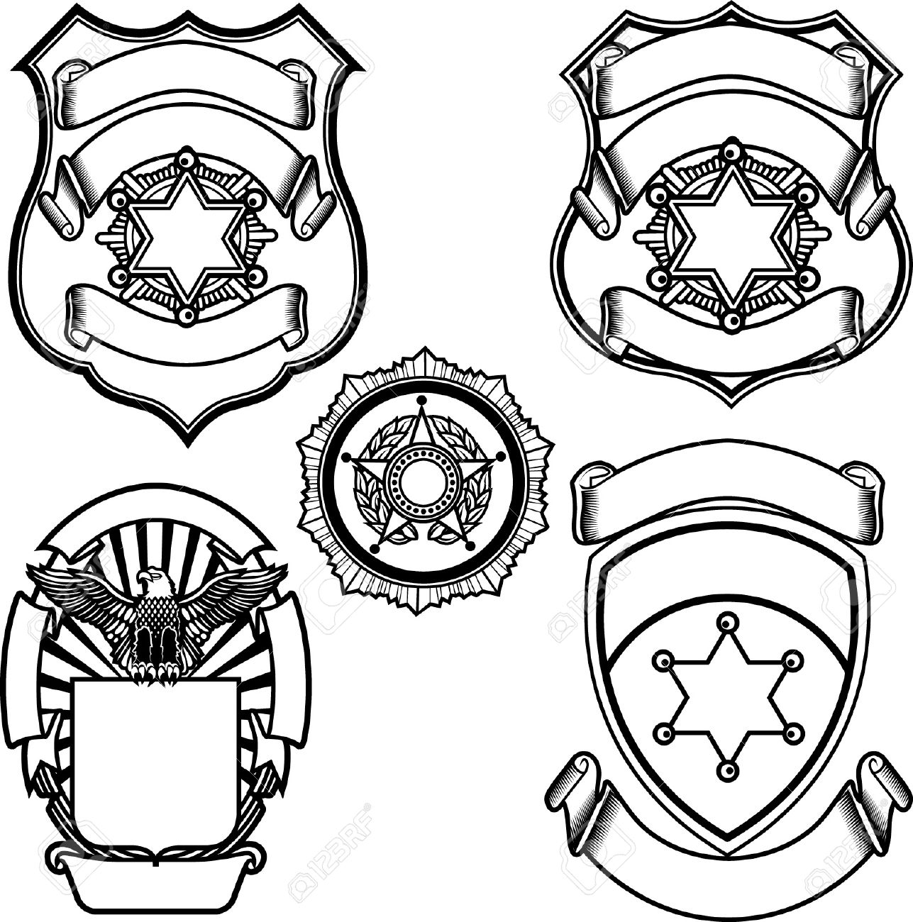 Vector Illustration Of Sheriff Badge Royalty Free Cliparts, Vectors ...
