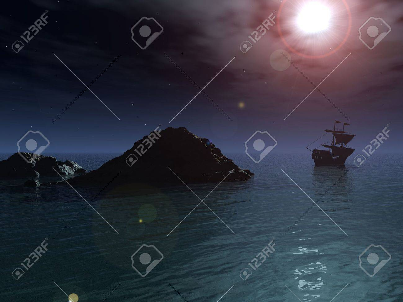 A pirate ship sails out to sea and away from a rocky outcrop, under a clear night sky and a full moon. Stock Photo - 7671111