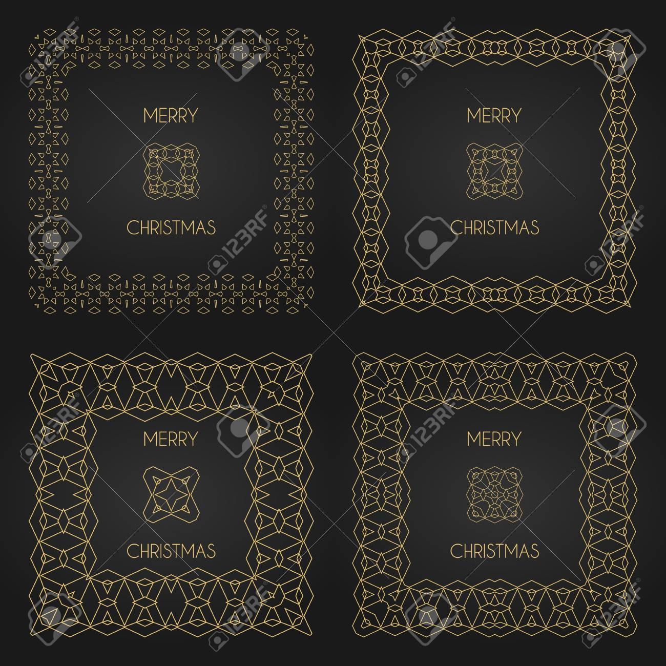 Marcos Decorativos De Oro Fijados. Las Plantillas Del Diseño Del ...