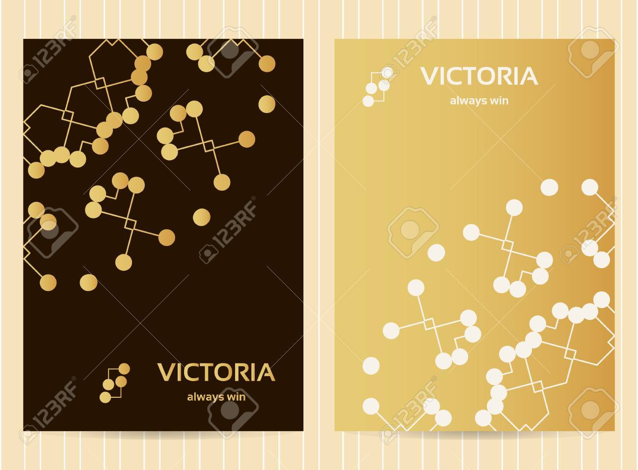 5x7 inch size cards in golden color with lines and dots  Vector