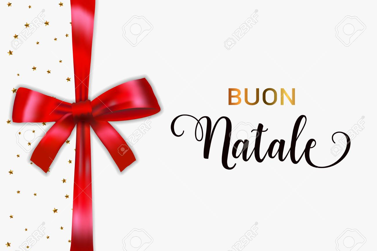 buon natale merry christmas italian typography christmas vector card with blue realistic bow and golden