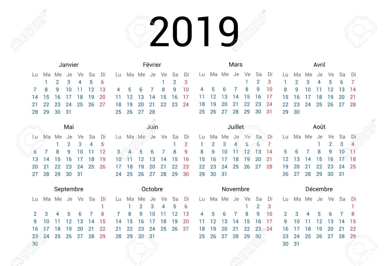 2019 year French calendar in French language. Classical, minimalistic, simple design. White background. Vector Illustration. Week starts from monday. - 109774245