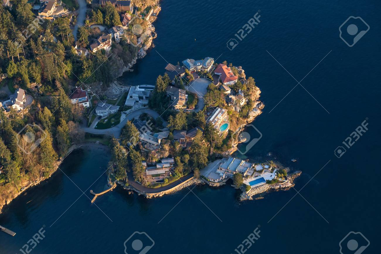 Aerial View Of Expansive Luxury Homes In West Vancouver, British Columbia,  Canada, In