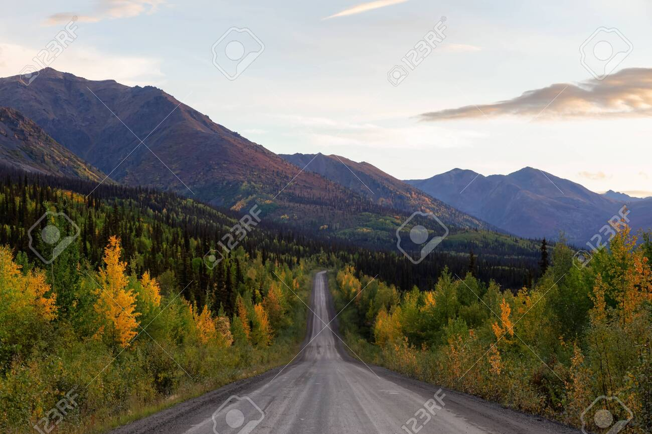 View Of Scenic Road Leading To Tombstone And Mountains In Canadian Stock Photo Picture And Royalty Free Image Image 156149097