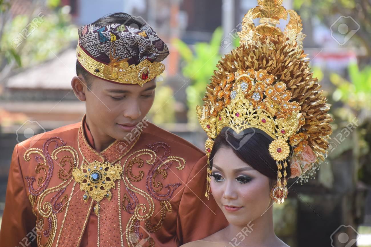 Beautiful Balinese Couple In Traditional Dress Taking Wedding