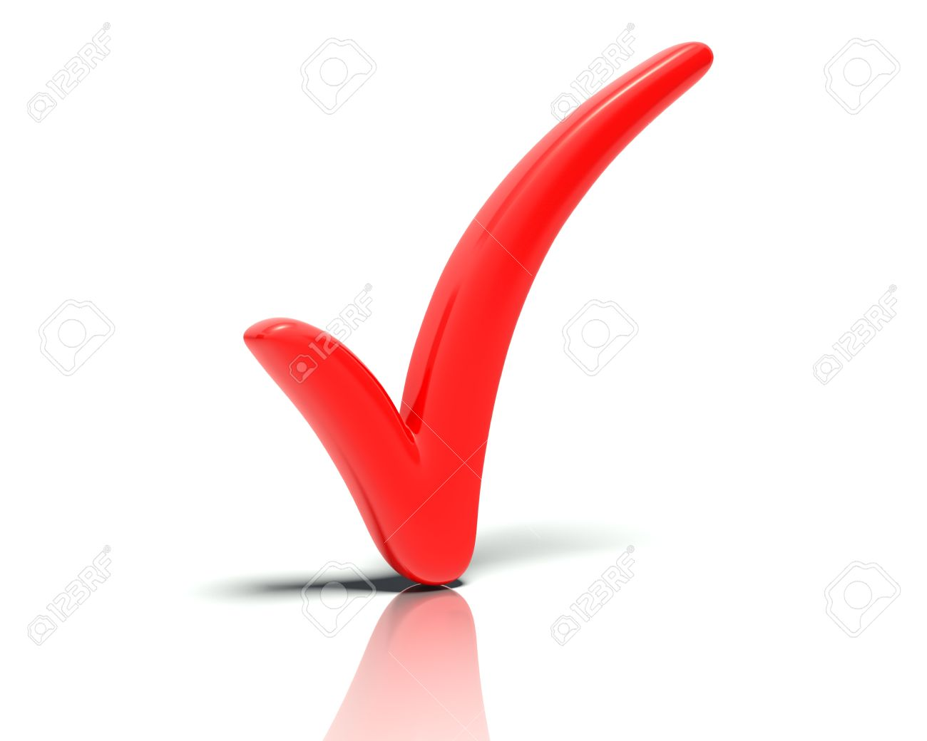 A big Red 3D tick or check mark selecting or  ticking  a blue stylized character or stick figure  Rendered against a white background with a  soft shadow and reflection to enhance the 3D Stock Photo - 14180526