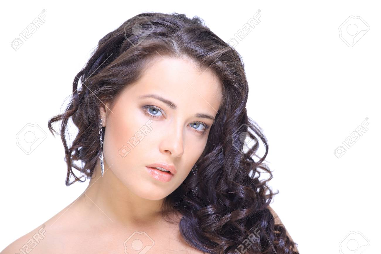 Close-up portrait of sexy caucasian young woman with beautiful blue eyes Stock Photo - 11072922