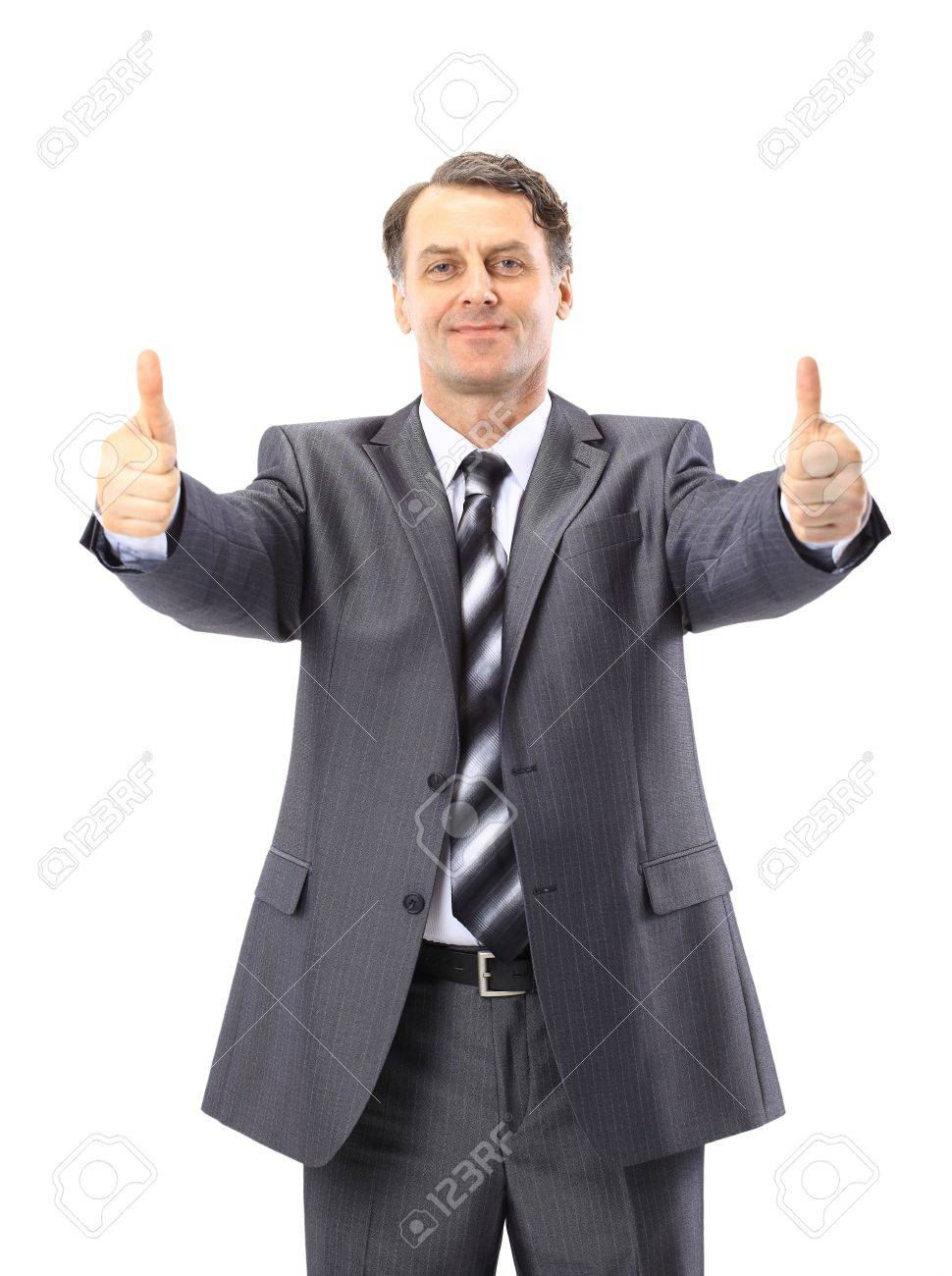 business man going thumb up, isolated on white Stock Photo - 11212081