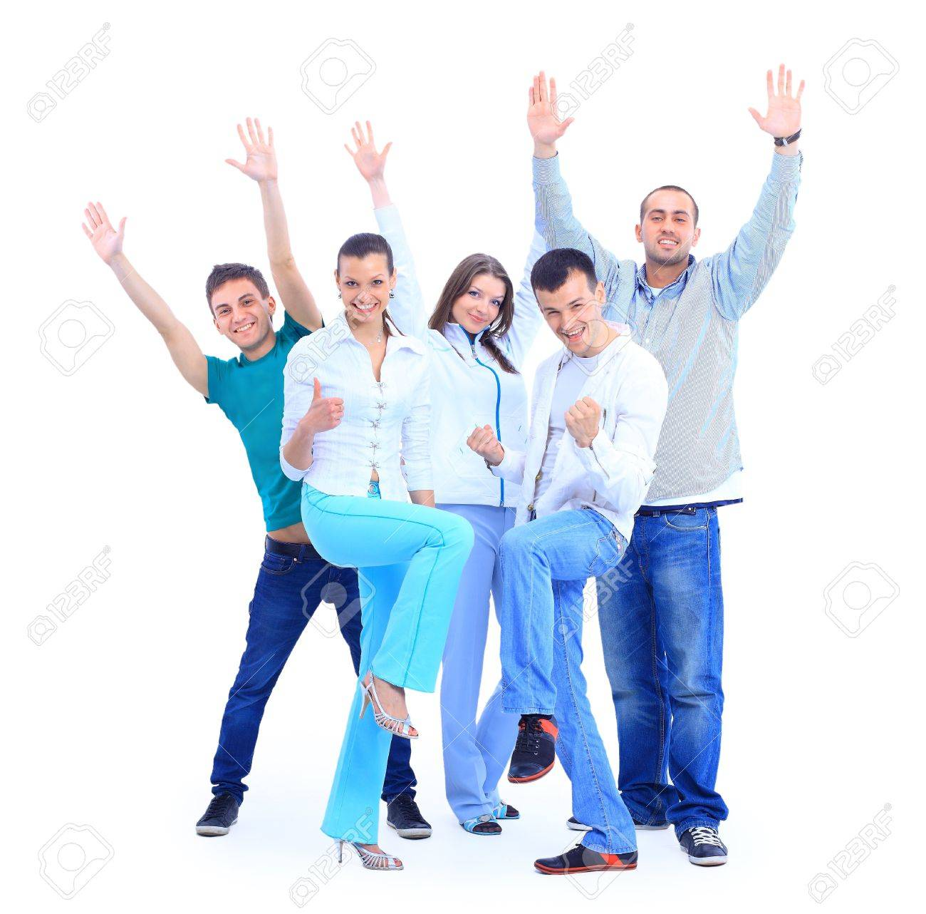 Group of the young smiling people. Over white background Stock Photo - 11315081