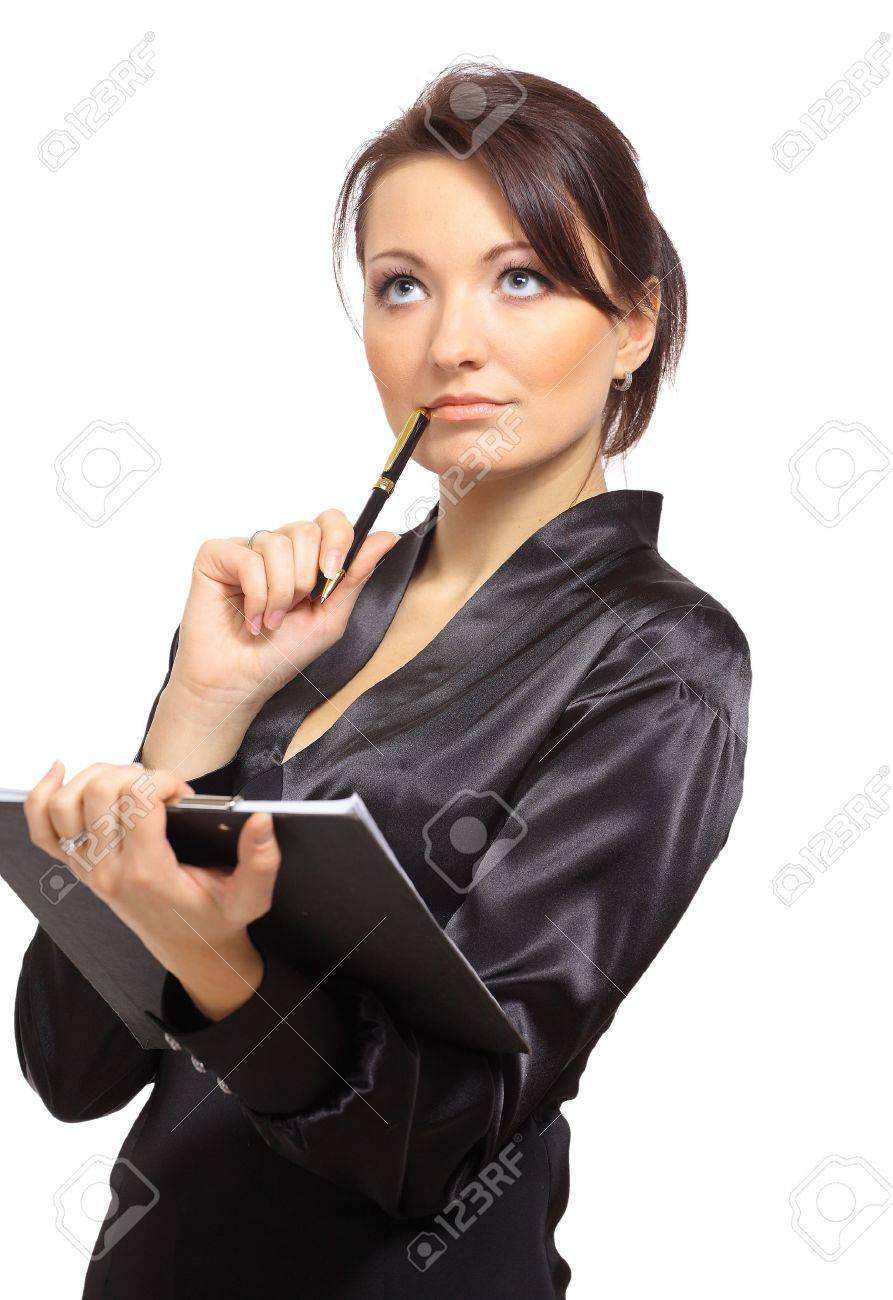 Portrait of a young female entrepreneur thinking while taking notes against white background Stock Photo - 11315116