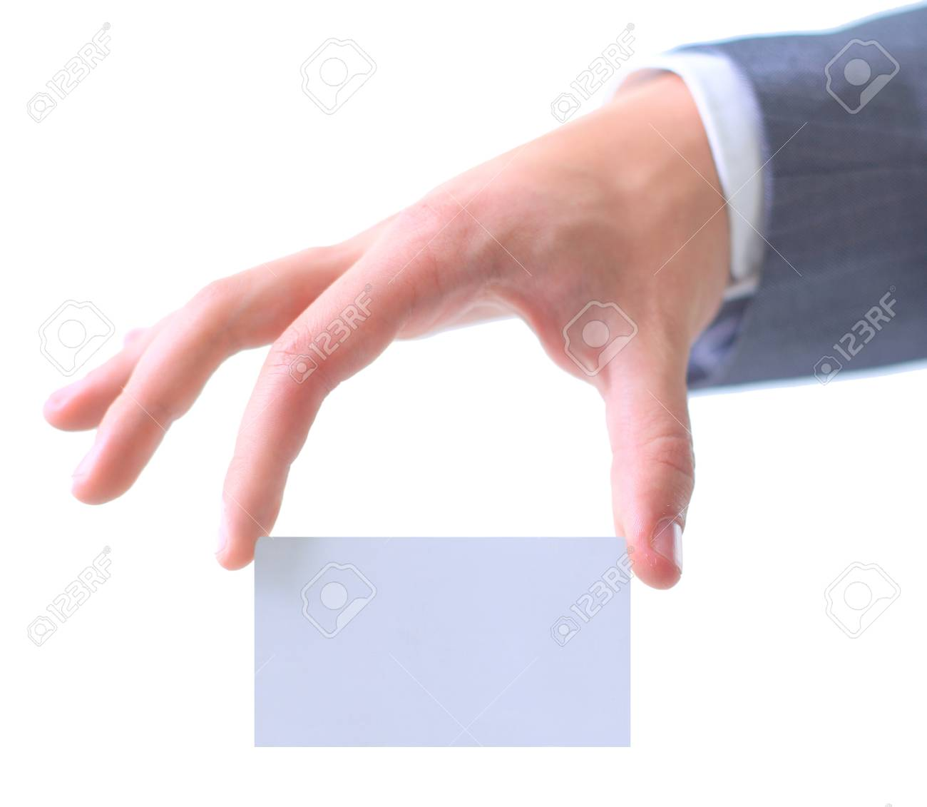Businessman's hand holding blank paper business card Stock Photo - 11320348