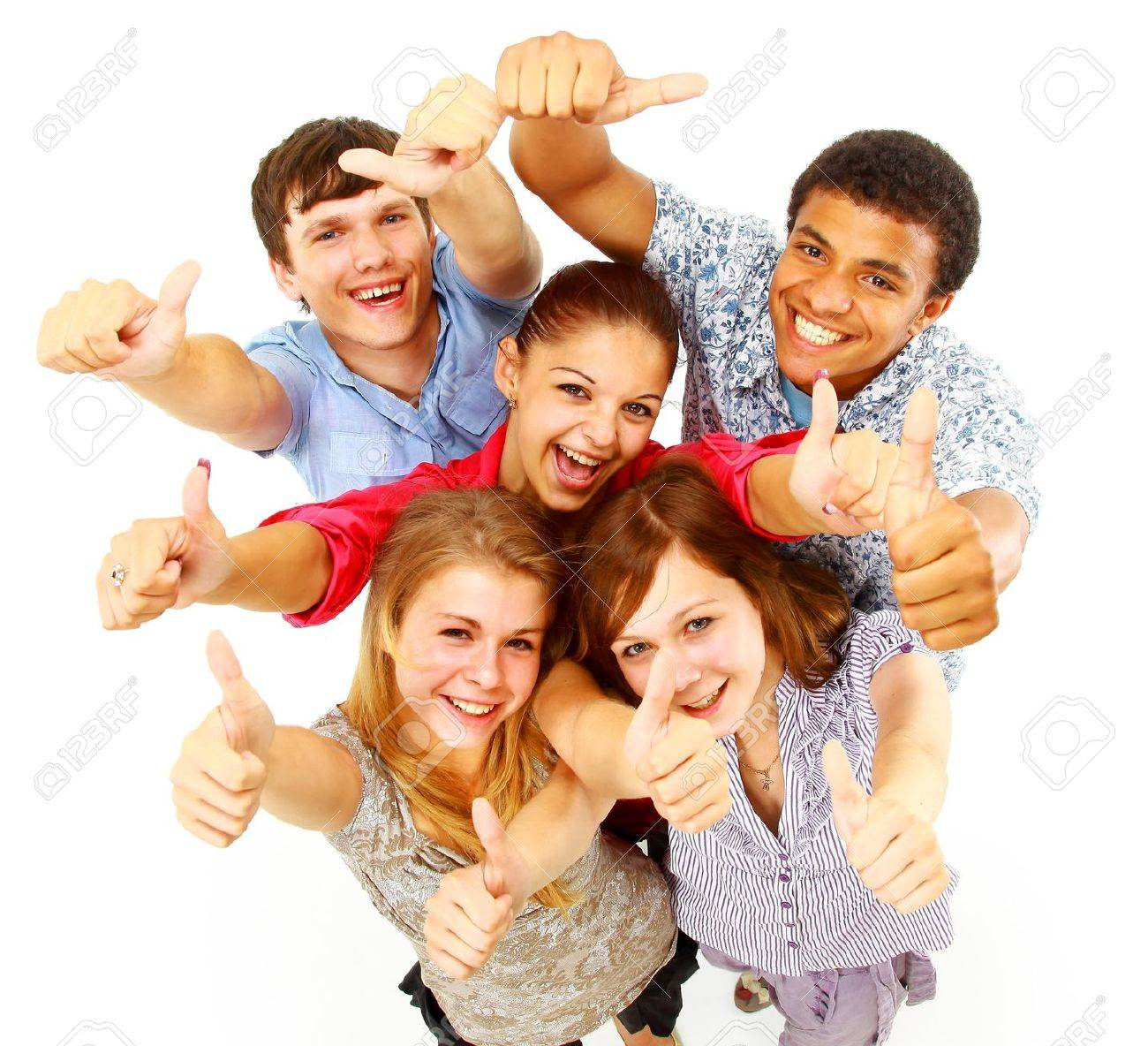 casual group of happy people isolated over white Stock Photo - 11480019