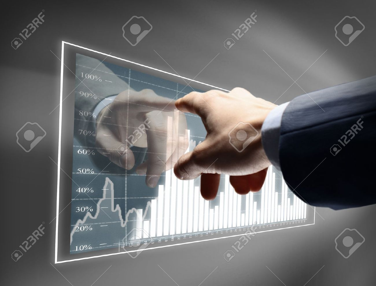 Working man drawing color graphics devoted to business Stock Photo - 11480689
