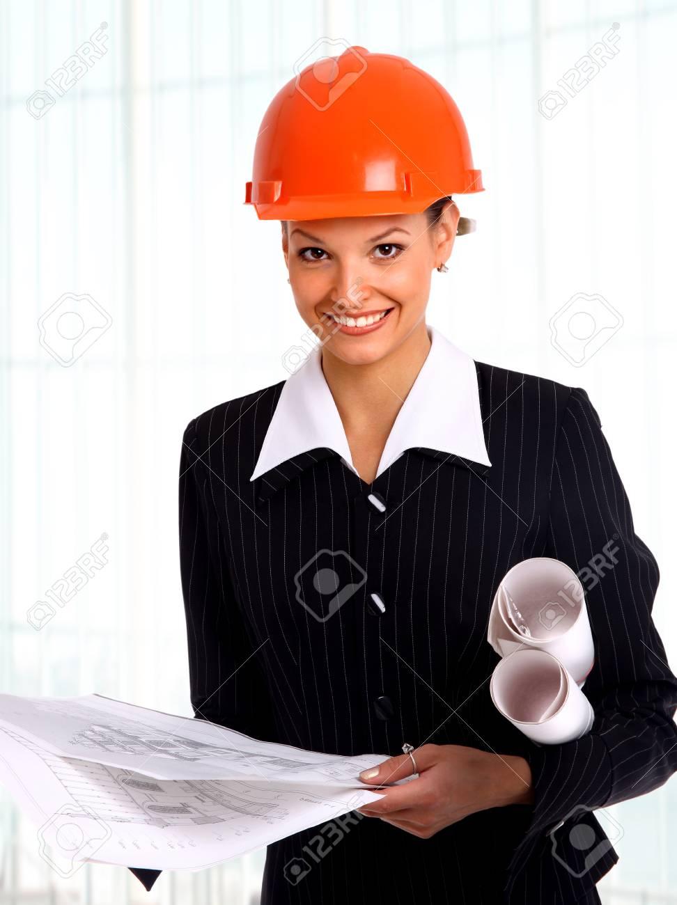 Female architect holding blueprints Stock Photo - 22402279