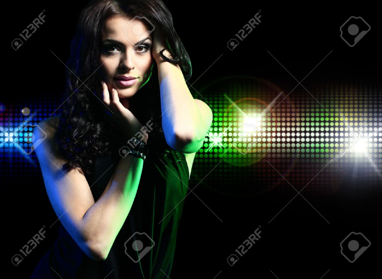 Portrait of dancing girl on disco party - 22400322
