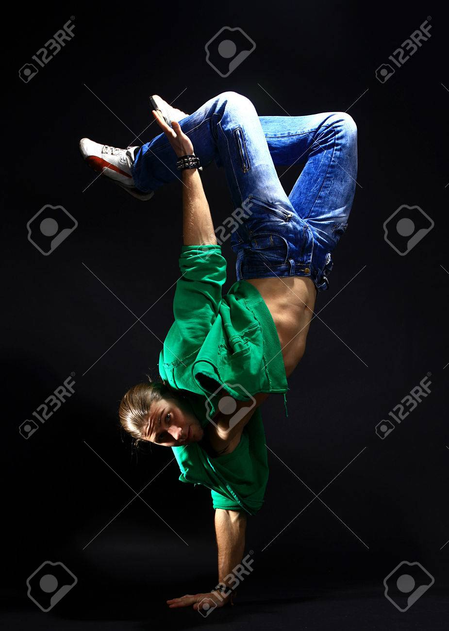 stylish and cool breakdance style dancer posing stock photo picture