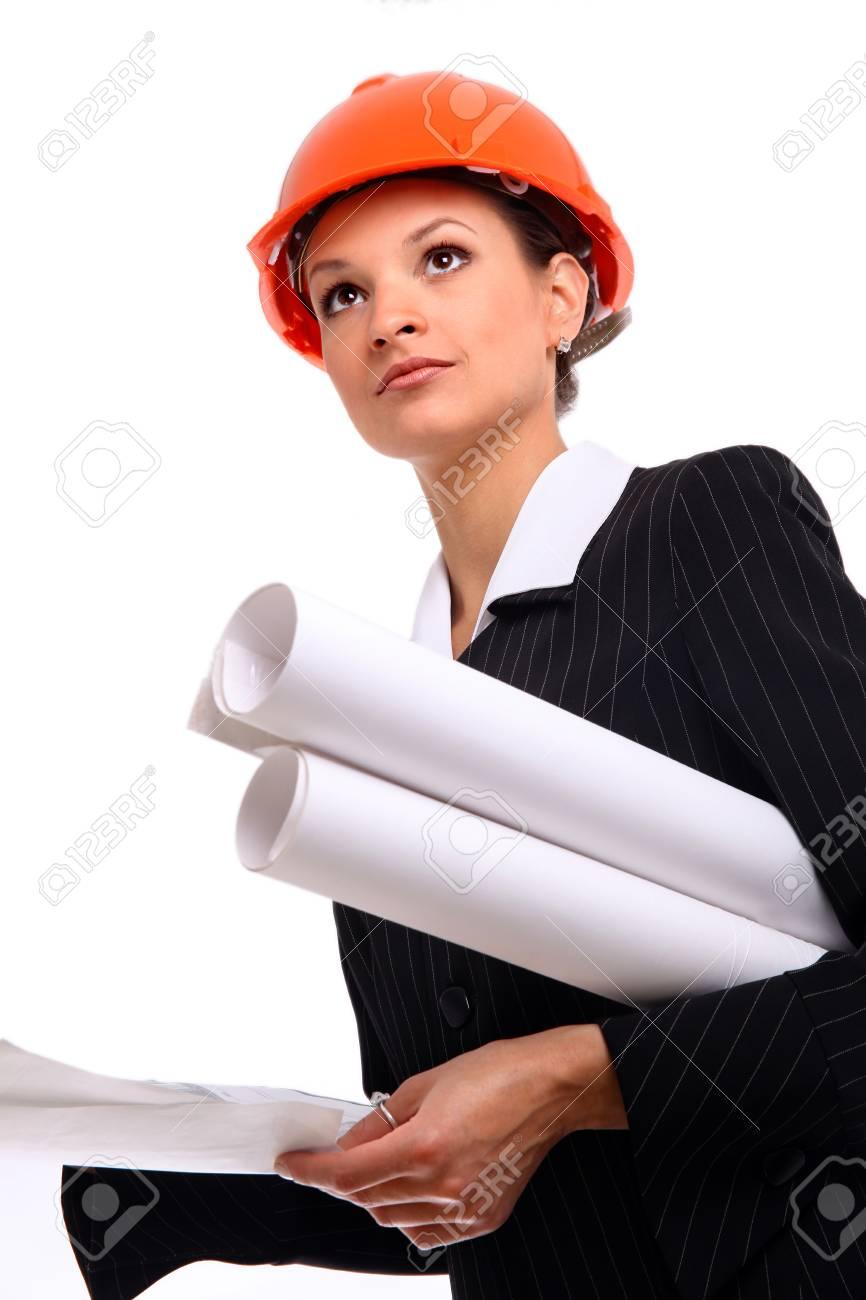 Female architect holding blueprints Stock Photo - 22534365