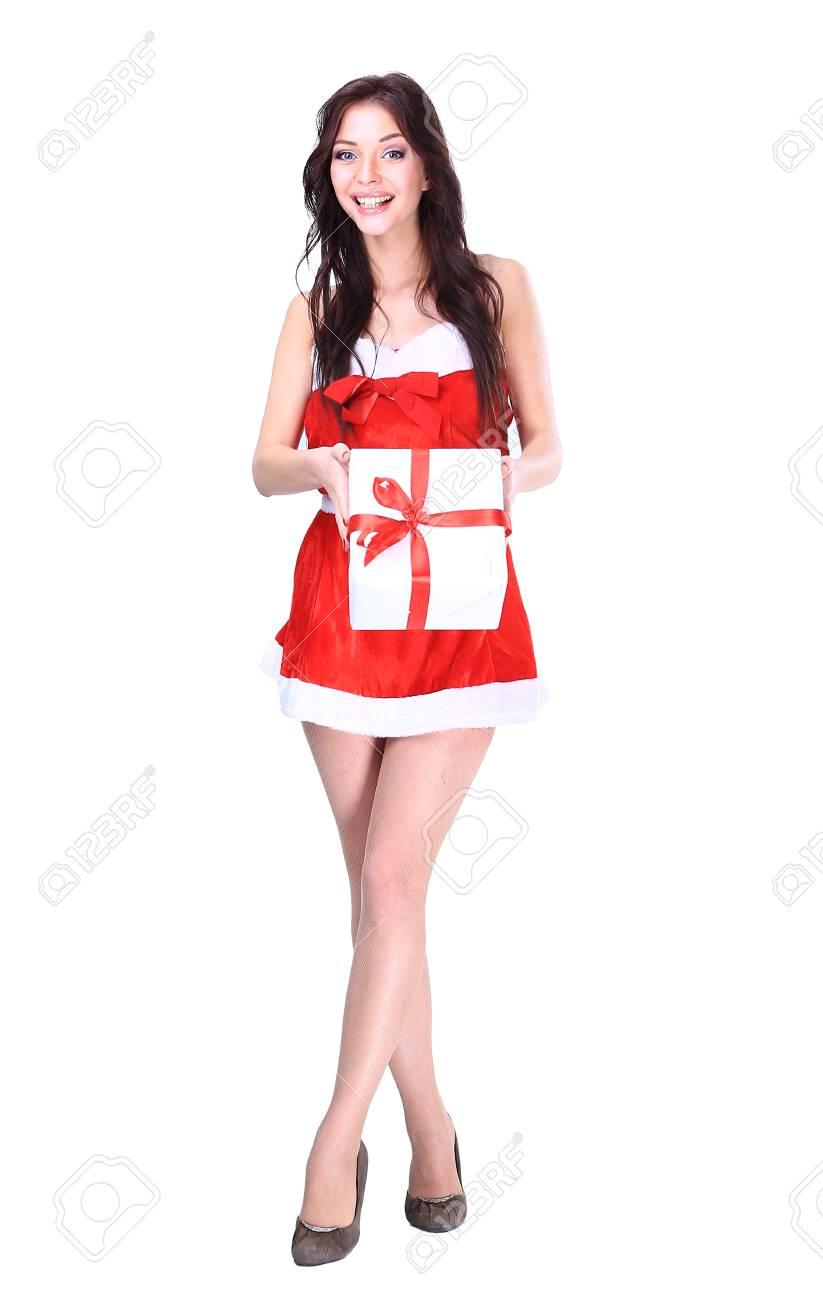 Sankt-Mädchen mit Weihnachtsgeschenke