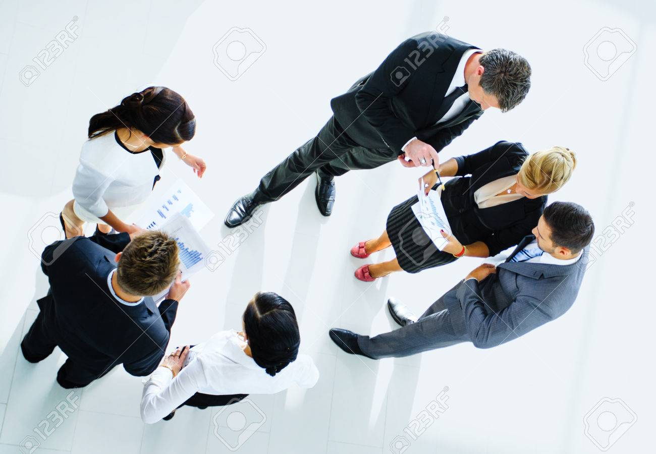 Top view of business people with their hands together Standard-Bild - 34313812