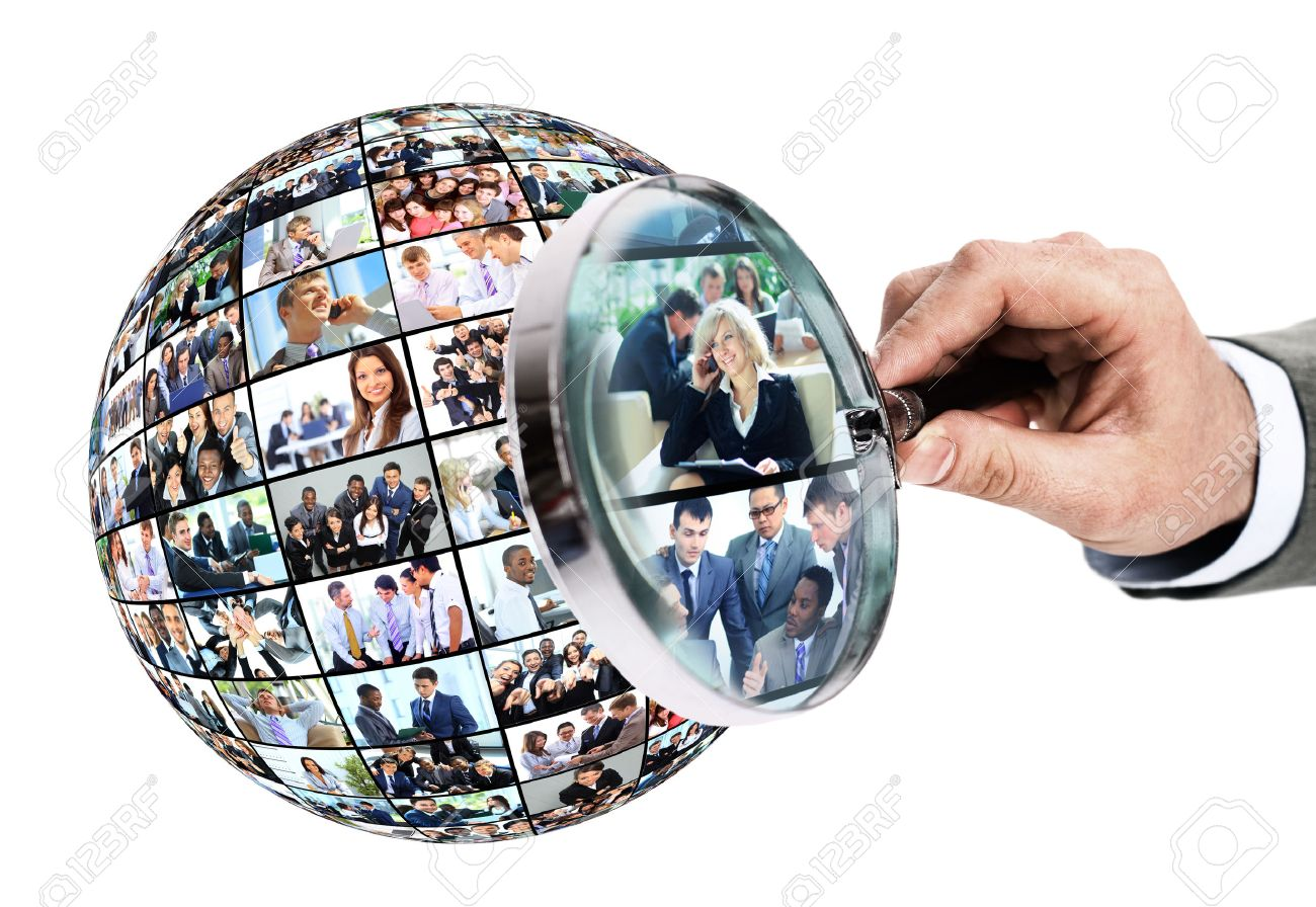 Human resource concept, magnifying glass searching people Standard-Bild - 48337087