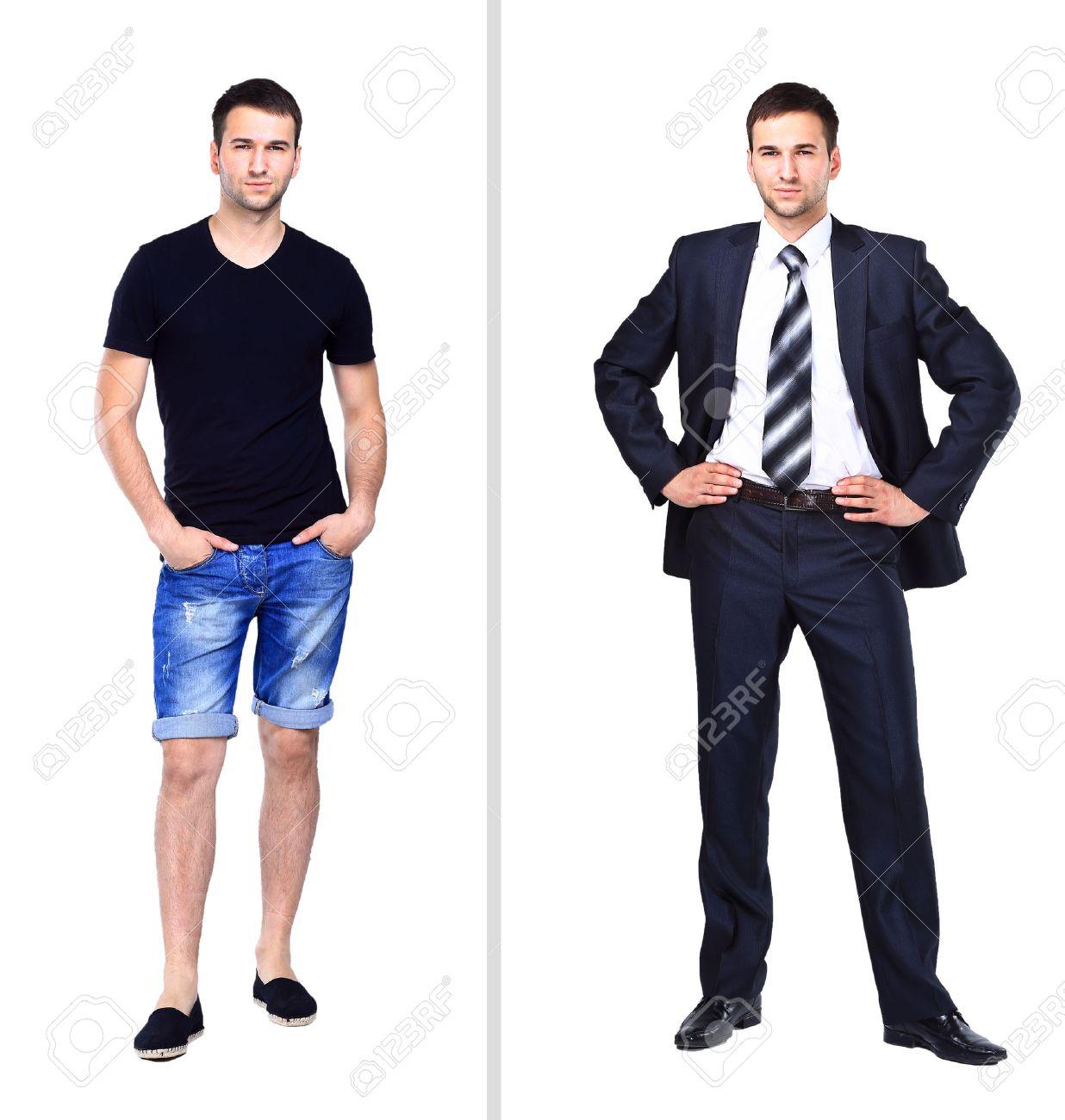 05009f90579 Foto de archivo - La fotografía muestra a un hombre joven en ropa casual,  cerca representa a un hombre joven en un traje