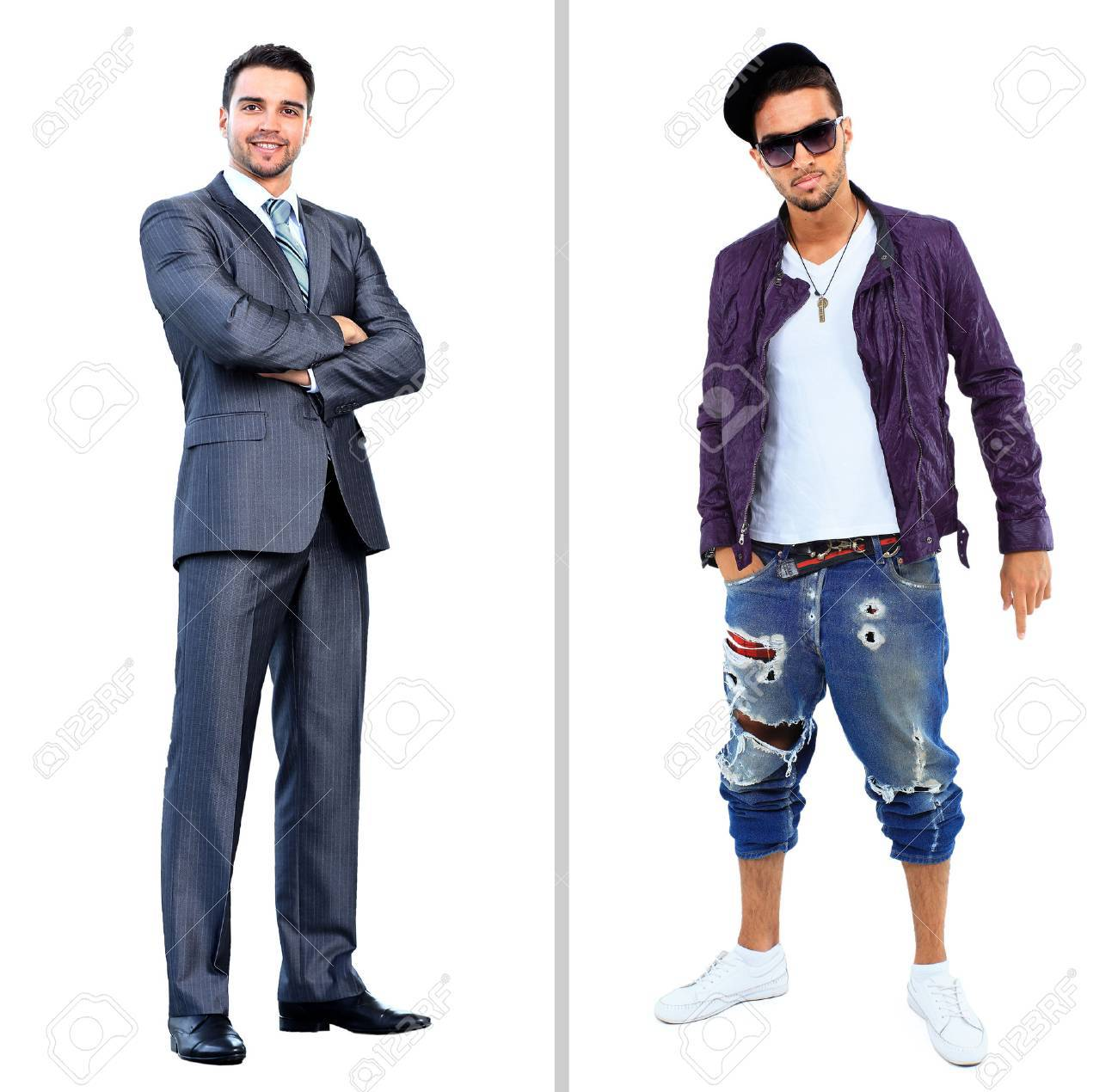 smiling businessman standing with arms crossed near full body man in a studio Standard-Bild - 49250024