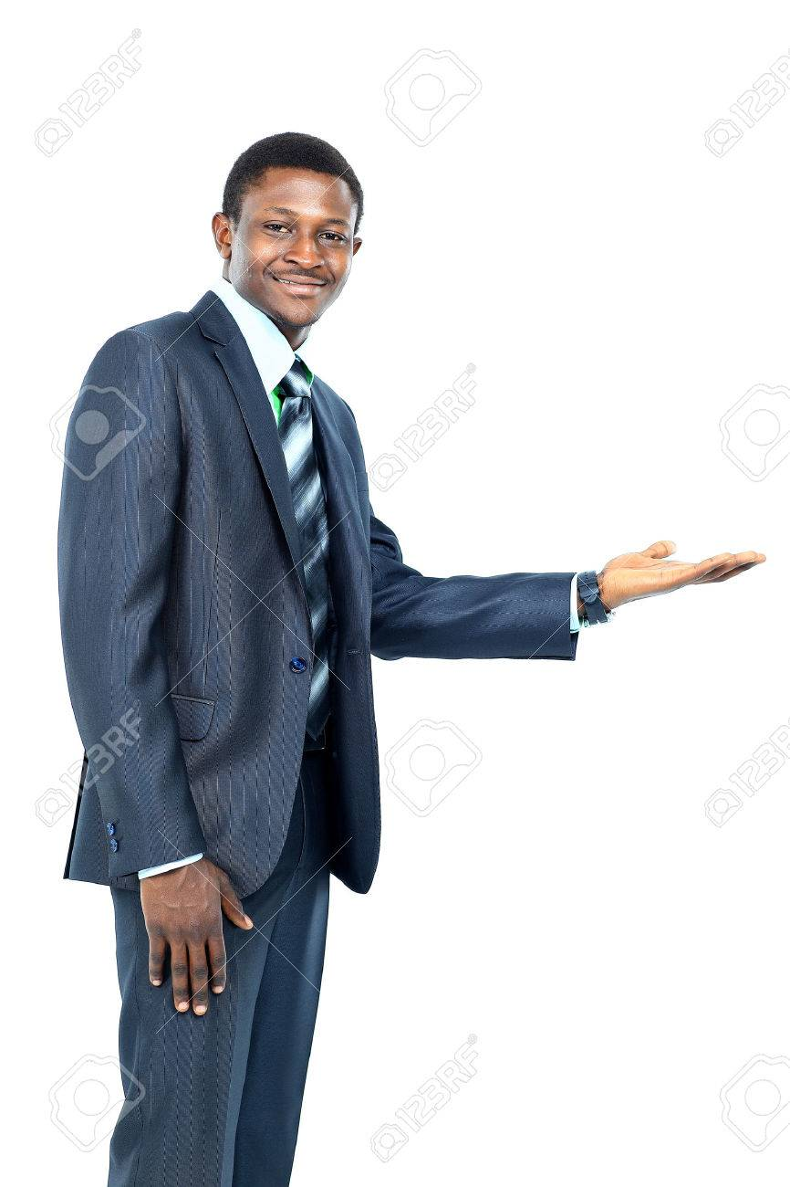 Businessman with open palm offering something Standard-Bild - 49499579