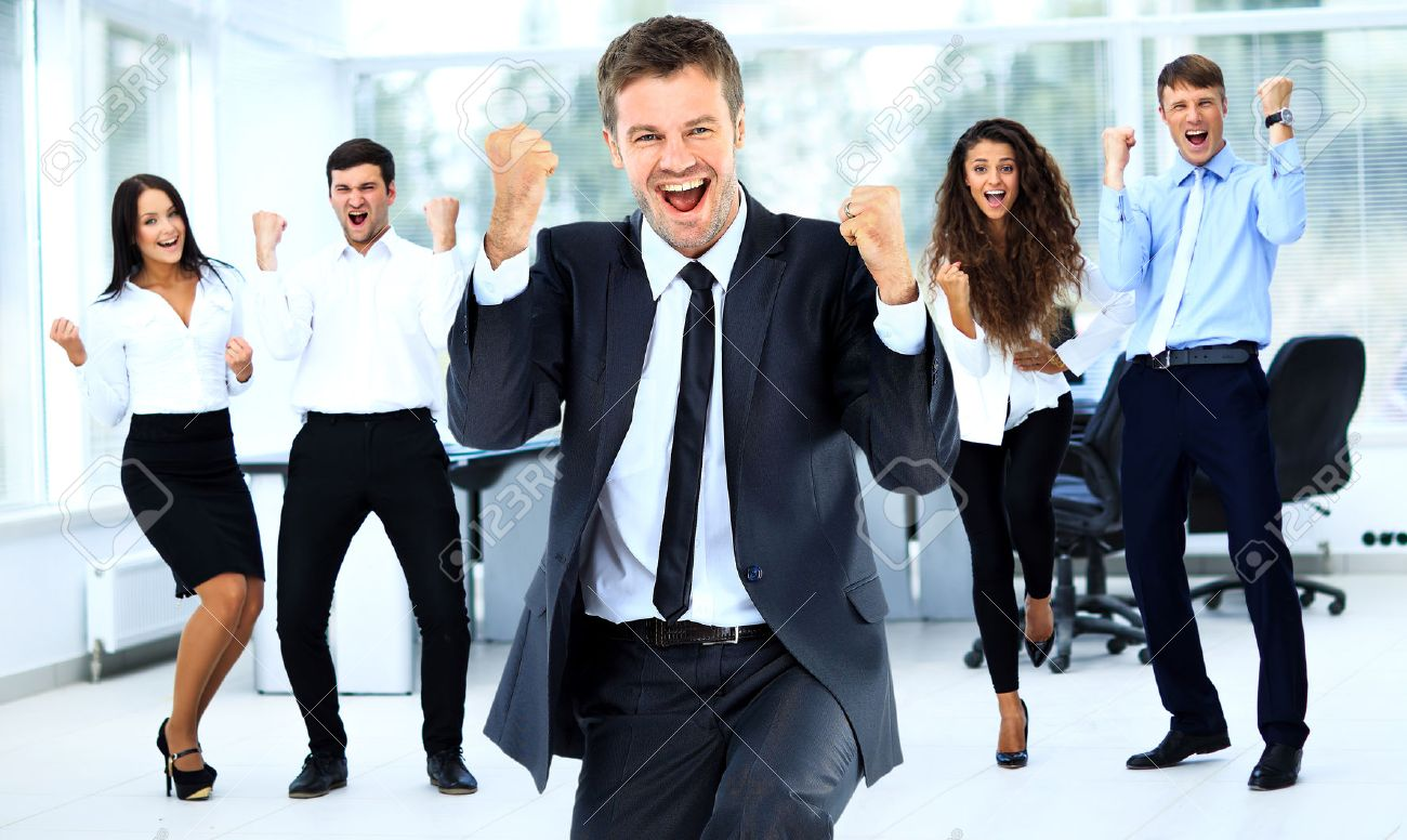 Portrait Of Happy Successful Business Group at office Standard-Bild - 49499329
