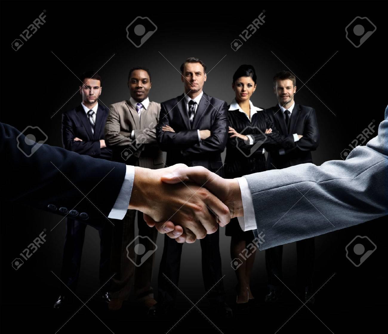 handshake isolated on business background Standard-Bild - 52955422