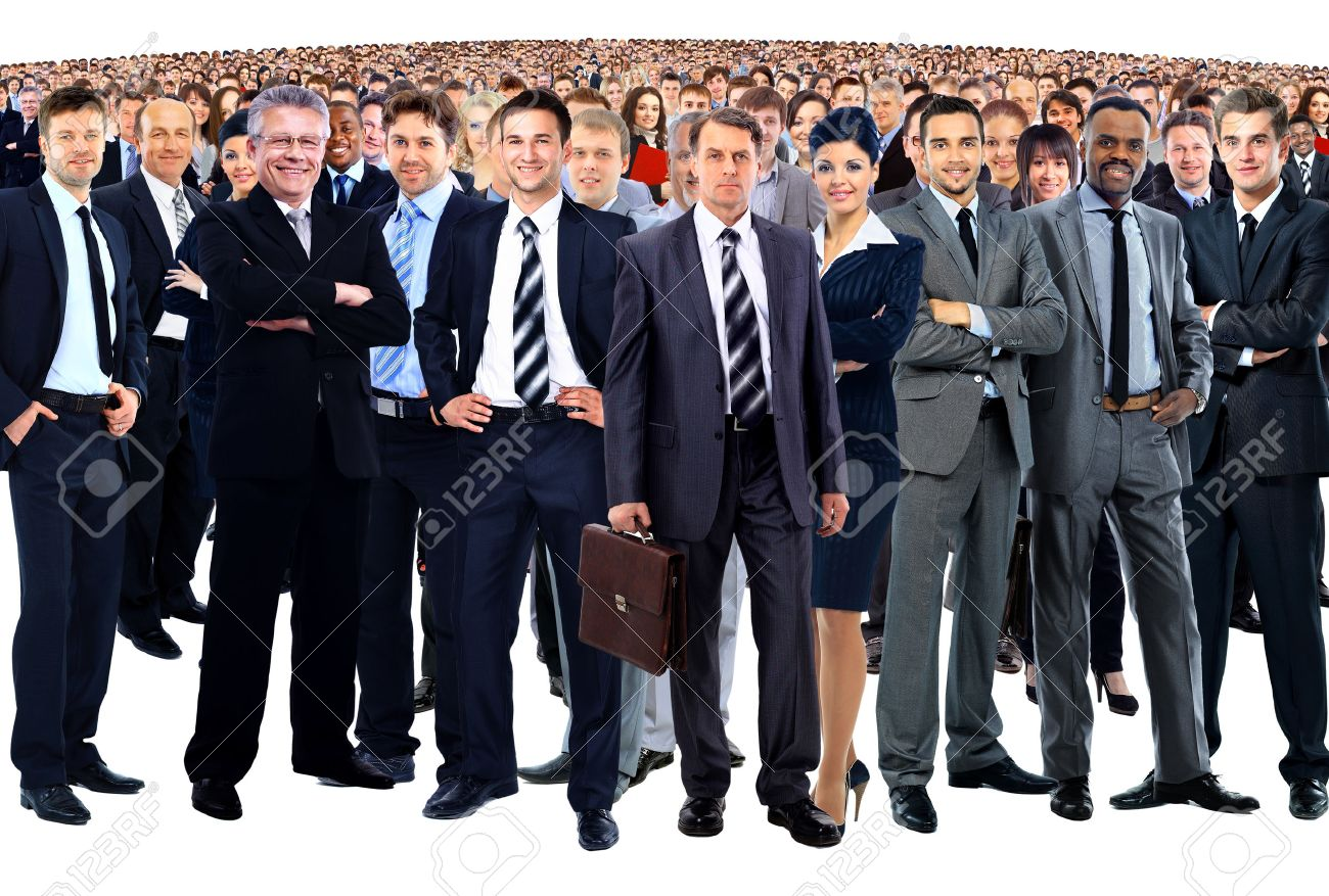 business team formed of young businessmen and businesswomen standing over a white background Standard-Bild - 56476547