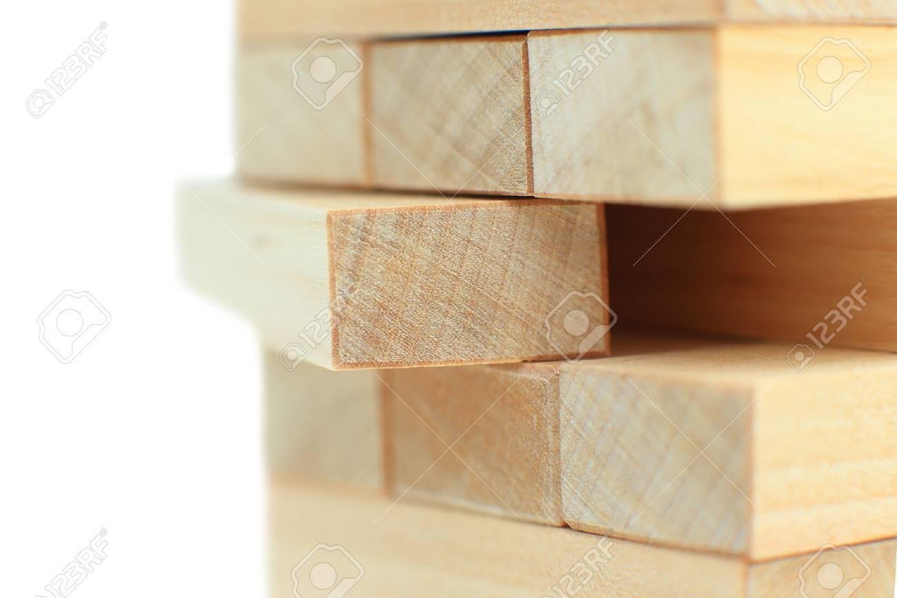 The tower from wooden blocks Standard-Bild - 56489802