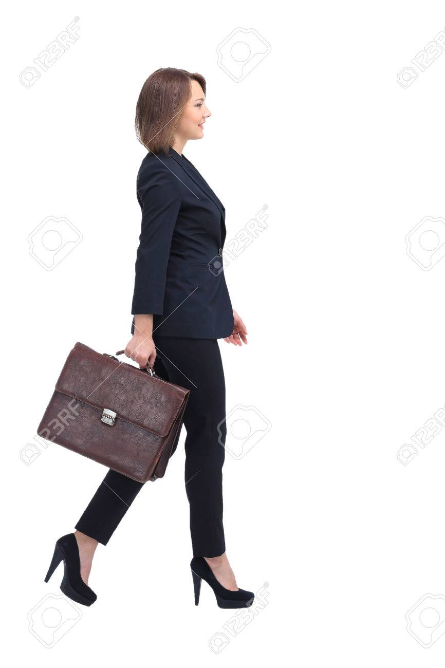 Profile of walking businesswoman, isolated on white. - 60567888