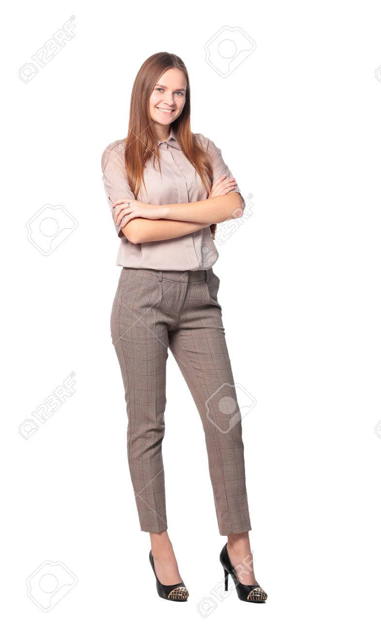 Full length of a business woman with crossed arms isolated on white background - 67467835