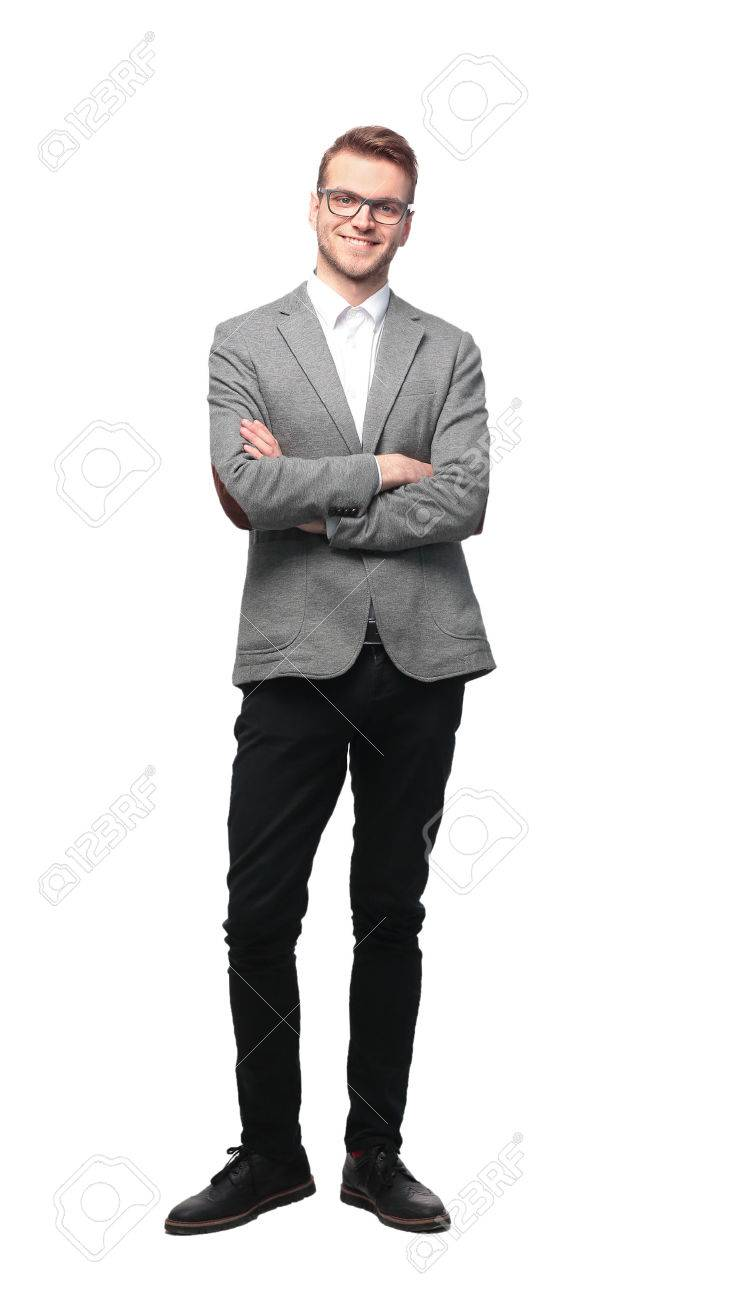 Young Businessman Standing Smiling Full Body Length on Isolate White Background - 67467836