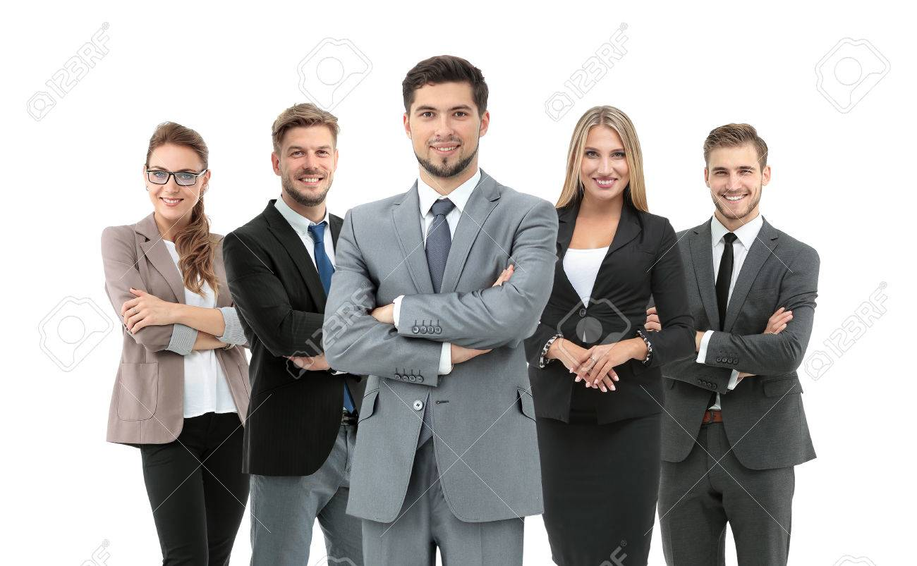 Group of smiling business people. Isolated over white background - 71487606