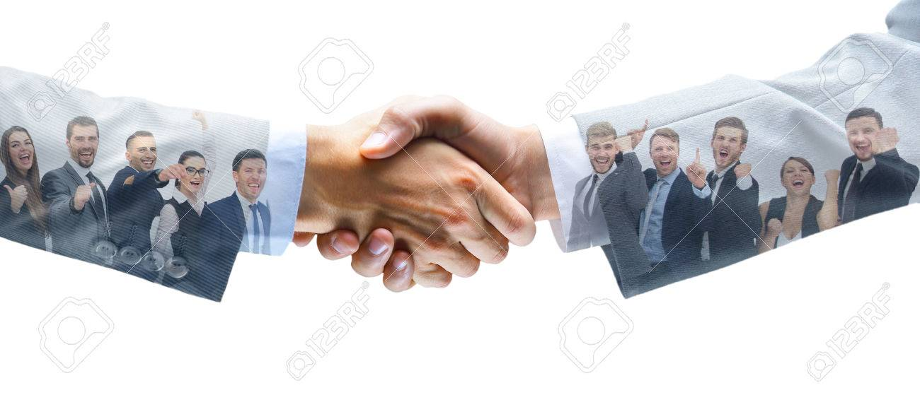 shaking hands and business team - 77341542