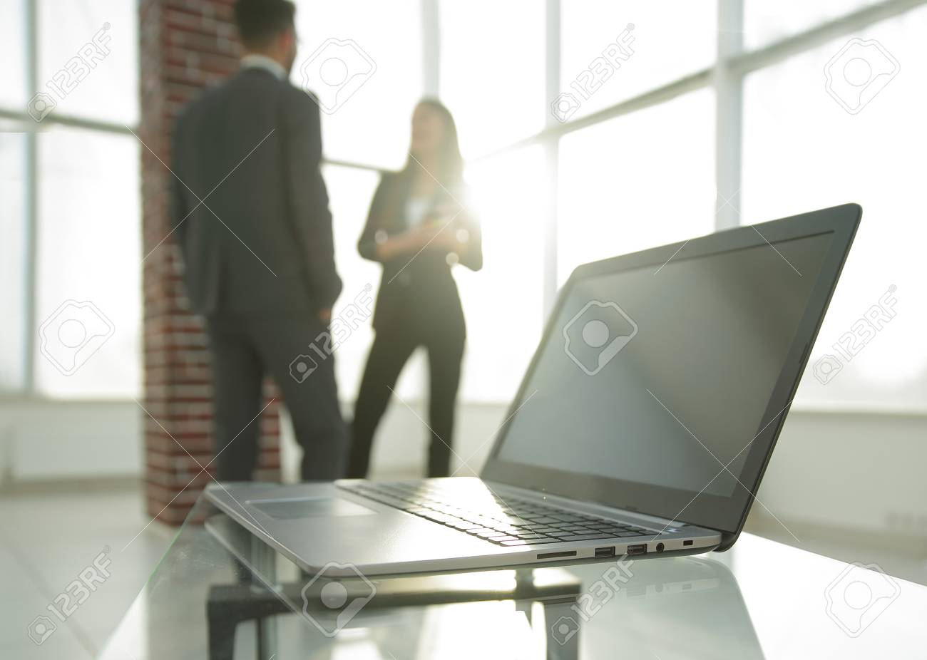 Stock Photo   Workspace Table Works In The Office With A Computer