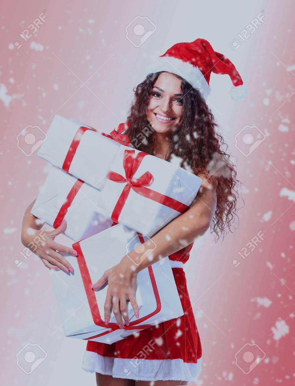 Christmas Santa Woman Portrait Hold Christmas Gifts. Stock Photo ...